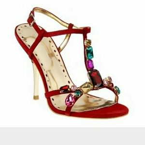 Bcbg Red Jeweled Heels Size 7.5